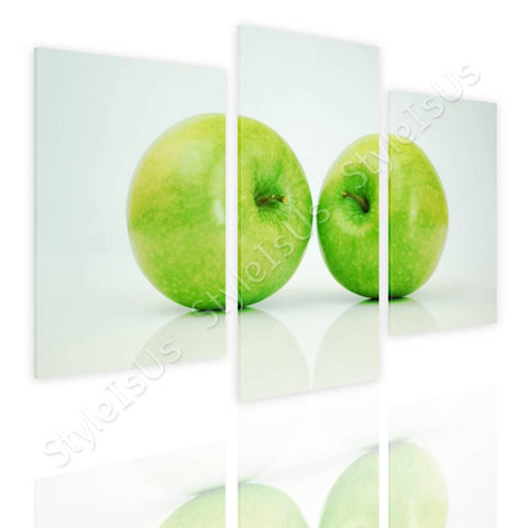 Split 3 panels Green Healthy Apples 3 Panels | Canvas, Posters, Prints & Stickers - StyleIsUS.com