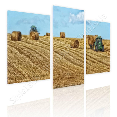 Split 3 panels Hay Bales on Farm Field 3 Panels | Canvas, Posters, Prints & Stickers - StyleIsUS.com