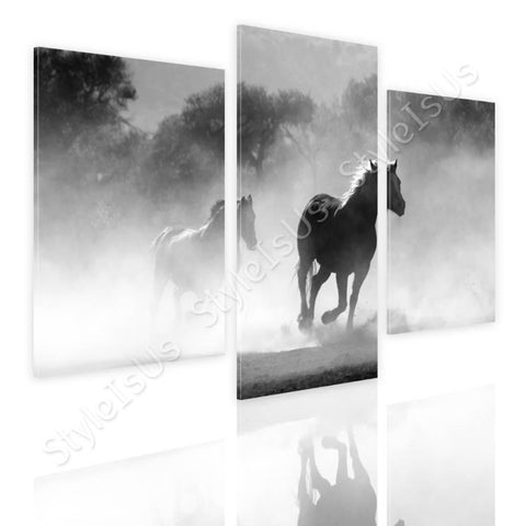 Split 3 panels Wild Horse running 3 Panels | Canvas, Posters, Prints & Stickers - StyleIsUS.com