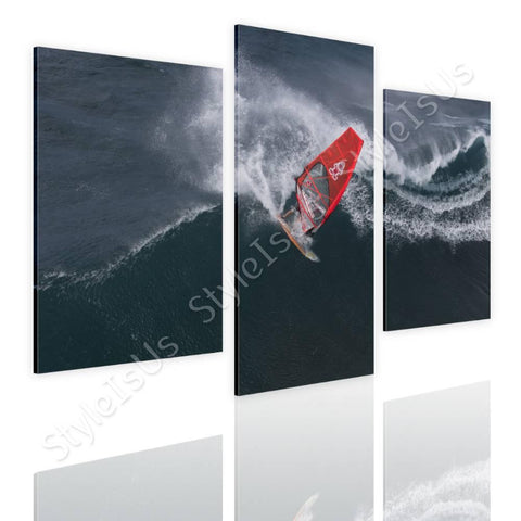 Split 3 panels Wind Surfing 3 Panels | Canvas, Posters, Prints & Stickers - StyleIsUS.com