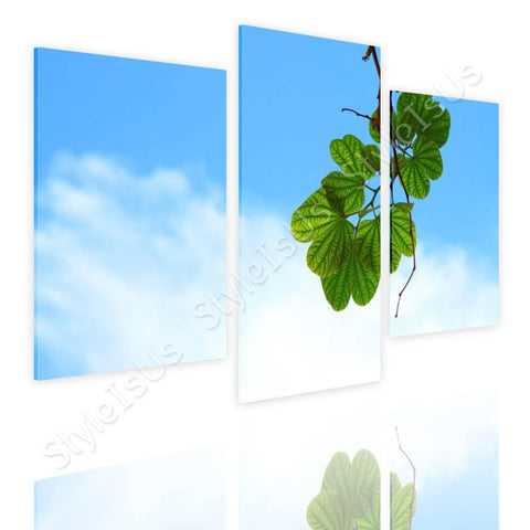 Split 3 panels A Brench with leaves 3 Panels | Canvas, Posters, Prints & Stickers - StyleIsUS.com