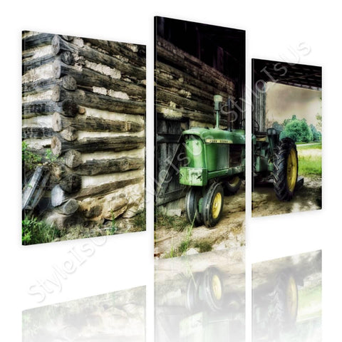 Split 3 panels Barn Farms Log 3 Panels | Canvas, Posters, Prints & Stickers - StyleIsUS.com