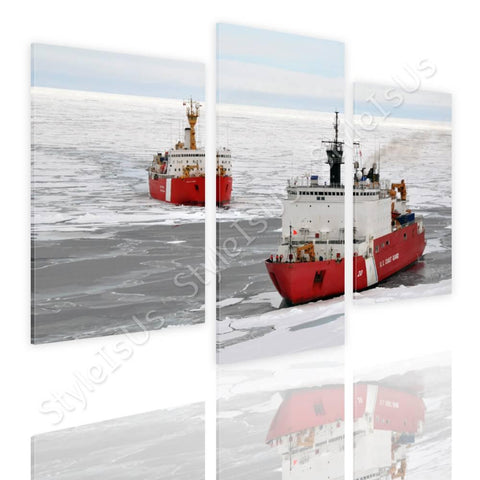 Split 3 panels Ice Breakers Ships 3 Panels | Canvas, Posters, Prints & Stickers - StyleIsUS.com