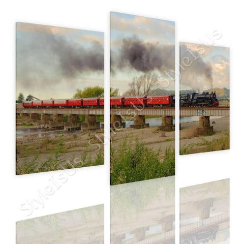 Split 3 panels Train in a Landscape 3 Panels | Canvas, Posters, Prints & Stickers - StyleIsUS.com