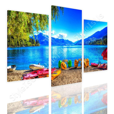 Split 3 panels Beach with mountains 3 Panels | Canvas, Posters, Prints & Stickers - StyleIsUS.com