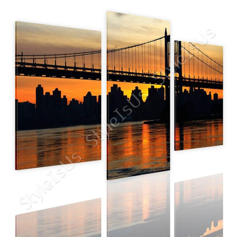 Split 3 panels Bridge on top of river 3 Panels | Canvas, Posters, Prints & Stickers - StyleIsUS.com
