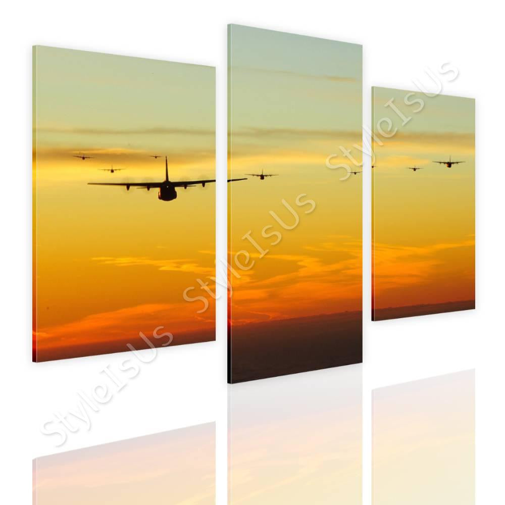 Split 3 panels Planes jets in sunset 3 Panels | Canvas, Posters ...