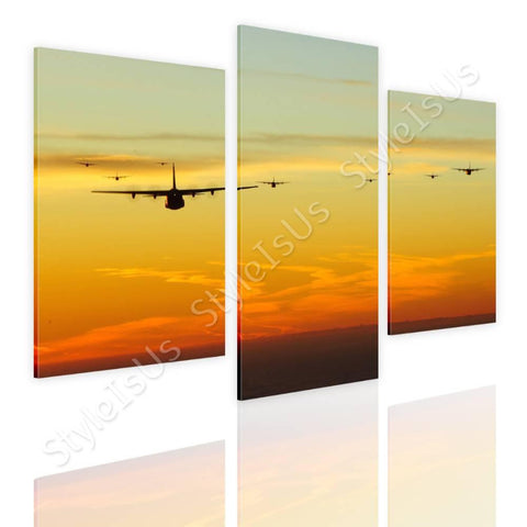 Split 3 panels Planes jets in sunset 3 Panels | Canvas, Posters, Prints & Stickers - StyleIsUS.com