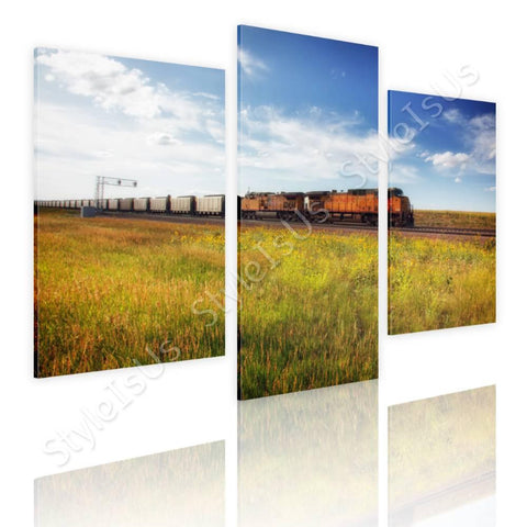 Split 3 panels Scenic train on rails 3 Panels | Canvas, Posters, Prints & Stickers - StyleIsUS.com
