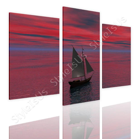 Split 3 panels Ship Sails in the ocean 3 Panels | Canvas, Posters, Prints & Stickers - StyleIsUS.com