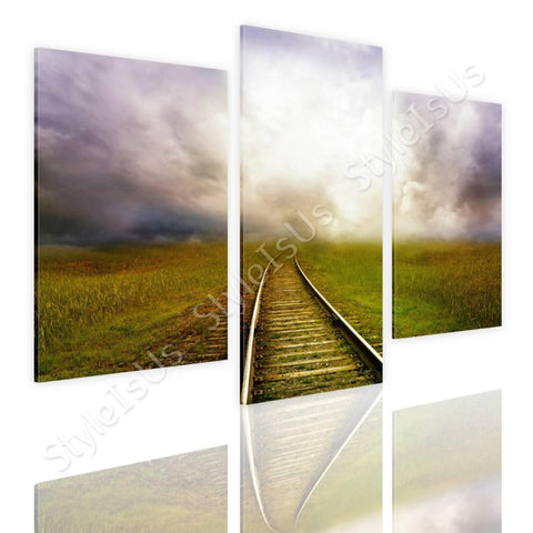 Split 3 panels Train road in the cloud 3 Panels | Canvas, Posters, Prints & Stickers - StyleIsUS.com