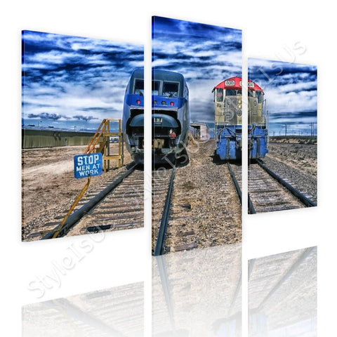 Split 3 panels Trains passing railroad 3 Panels | Canvas, Posters, Prints & Stickers - StyleIsUS.com