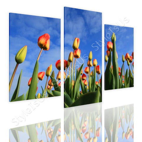 Split 3 panels Tulips field 3 Panels | Canvas, Posters, Prints & Stickers - StyleIsUS.com