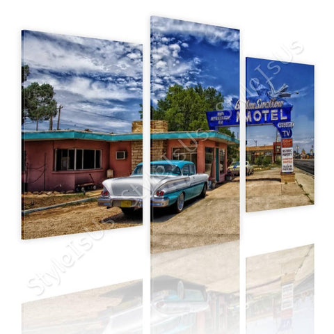 Split 3 panels vintage motel America 3 Panels | Canvas, Posters, Prints & Stickers - StyleIsUS.com