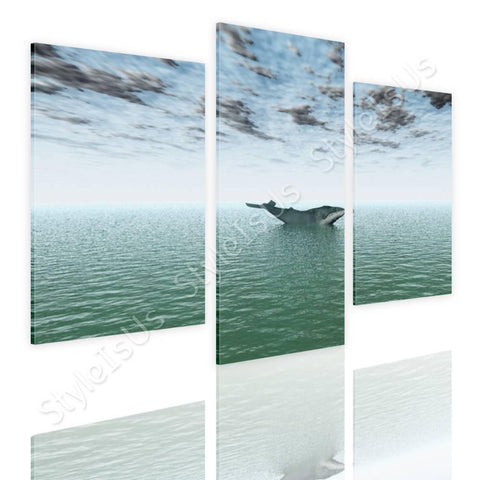 Split 3 panels Whale in deep ocean 3 Panels | Canvas, Posters, Prints & Stickers - StyleIsUS.com