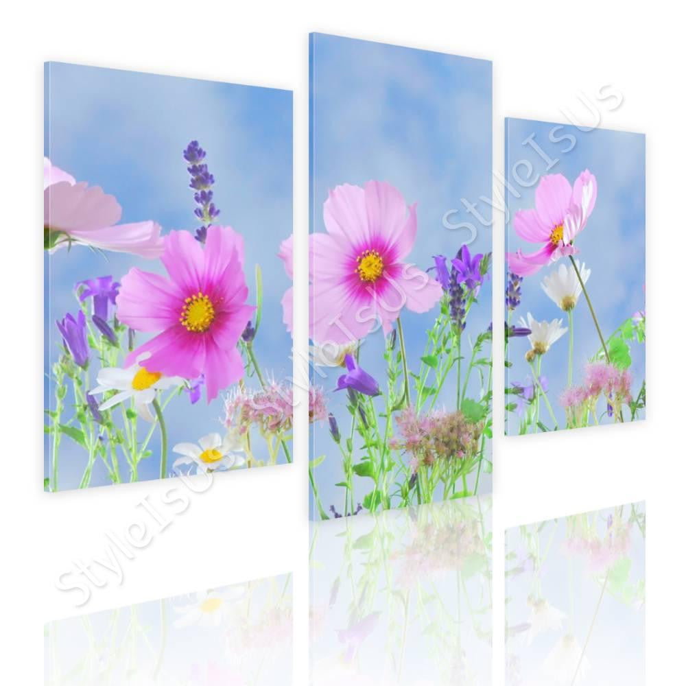 Split 3 panels Wild flowers in nature 3 Panels | Canvas, Posters, Prints & Stickers - StyleIsUS.com