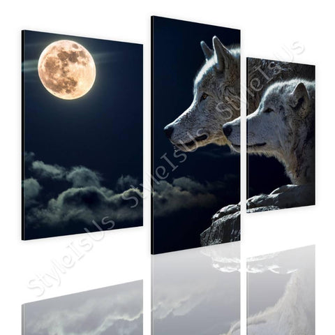 Split 3 panels Wolfs in full moon 3 Panels | Canvas, Posters, Prints & Stickers - StyleIsUS.com