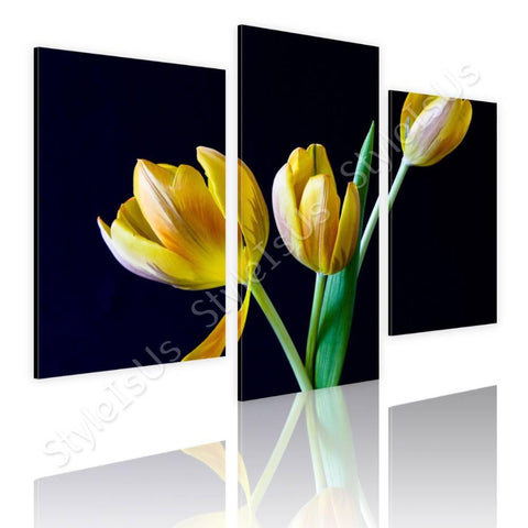 Split 3 panels yellow tulips in spring 3 Panels | Canvas, Posters, Prints & Stickers - StyleIsUS.com