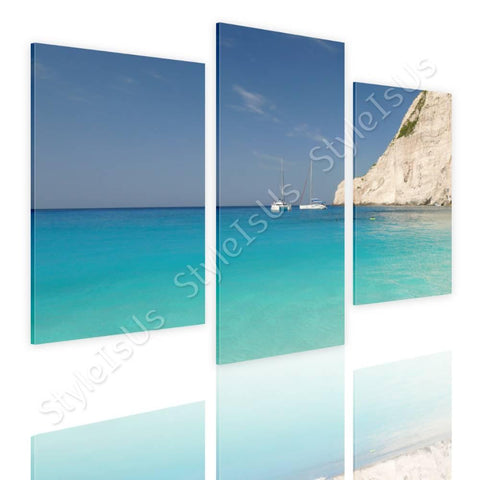 Split 3 panels Zakhintos beach greece 3 Panels | Canvas, Posters, Prints & Stickers - StyleIsUS.com