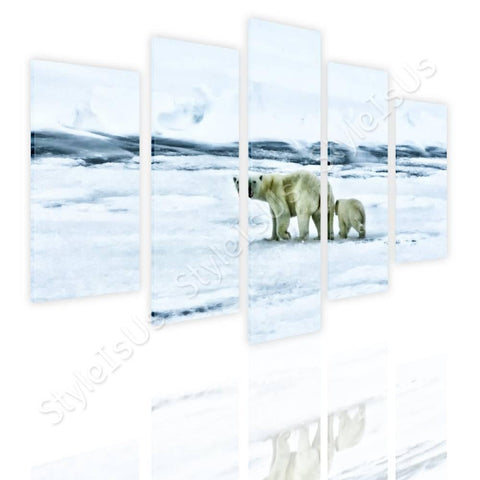 Split 5 panels Bears in the Arctic 5 Panels | Canvas, Posters, Prints & Stickers - StyleIsUS.com