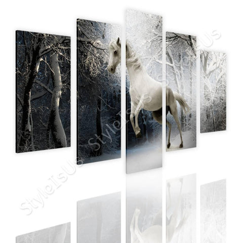Split 5 panels Wild White Horse 5 Panels | Canvas, Posters, Prints & Stickers - StyleIsUS.com