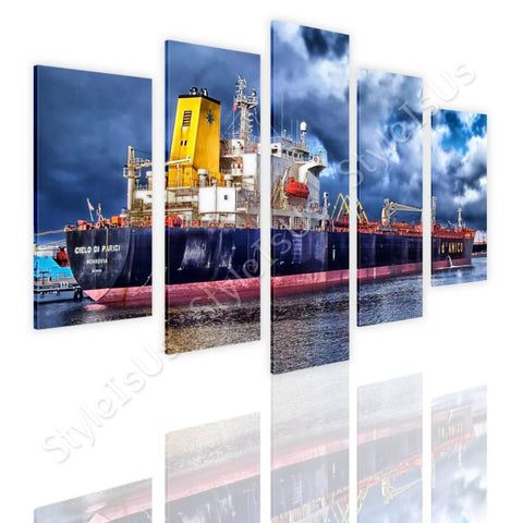 Split 5 panels Ship in a Port 5 Panels | Canvas, Posters, Prints & Stickers - StyleIsUS.com