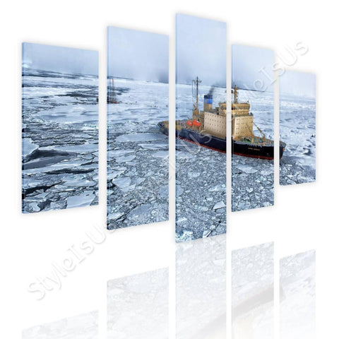 Split 5 panels Ship in the Antarctica 5 Panels | Canvas, Posters, Prints & Stickers - StyleIsUS.com