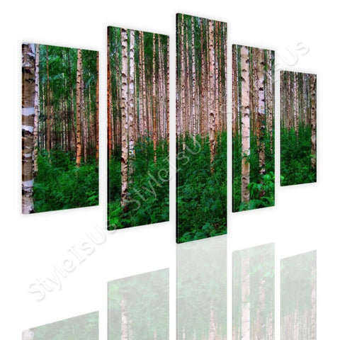 Split 5 panels Trees in the forest 5 Panels | Canvas, Posters, Prints & Stickers - StyleIsUS.com