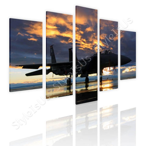 Split 5 panels Aircraft in the sunset 5 Panels | Canvas, Posters, Prints & Stickers - StyleIsUS.com