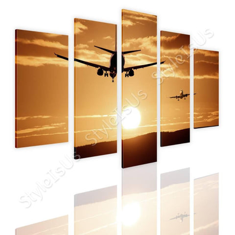 Split 5 panels Aircraft Landing 5 Panels | Canvas, Posters, Prints & Stickers - StyleIsUS.com