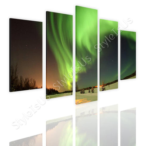 Split 5 panels Auroras Wilderness 5 Panels | Canvas, Posters, Prints & Stickers - StyleIsUS.com