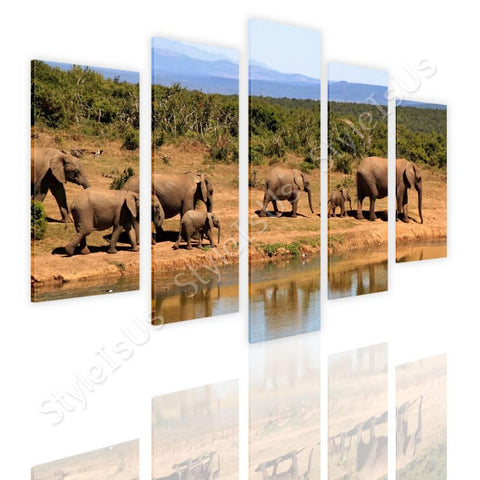 Split 5 panels African Elephants 5 Panels | Canvas, Posters, Prints & Stickers - StyleIsUS.com