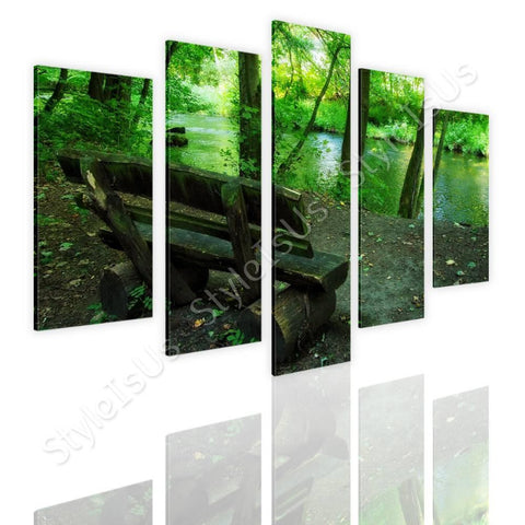 Split 5 panels Bench in the Forest 5 Panels | Canvas, Posters, Prints & Stickers - StyleIsUS.com