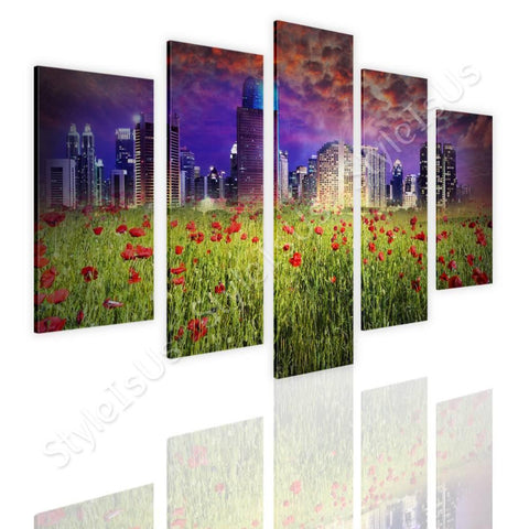 Split 5 panels Fantasy Urban Life 5 Panels | Canvas, Posters, Prints & Stickers - StyleIsUS.com