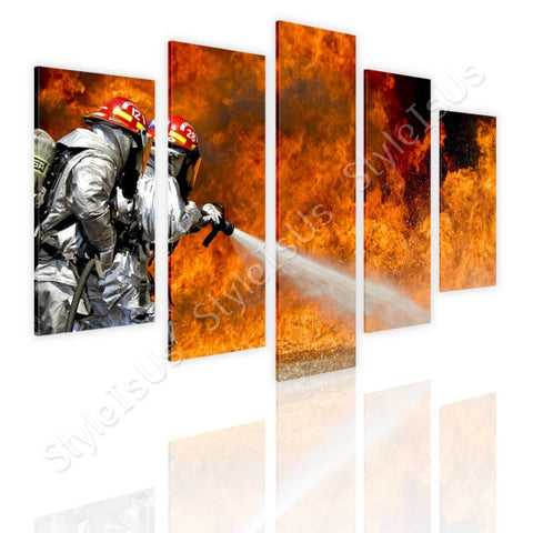 Split 5 panels Fire Fighters Flames 5 Panels | Canvas, Posters, Prints & Stickers - StyleIsUS.com