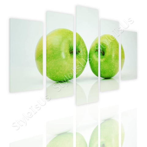 Split 5 panels Green Healthy Apples 5 Panels | Canvas, Posters, Prints & Stickers - StyleIsUS.com