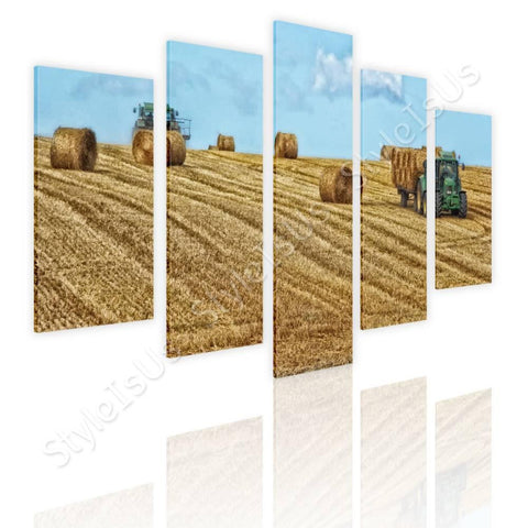 Split 5 panels Hay Bales on Farm Field 5 Panels | Canvas, Posters, Prints & Stickers - StyleIsUS.com