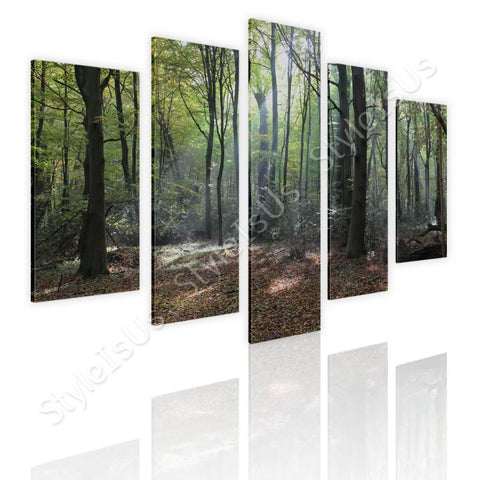 Split 5 panels Trees in the Woods 5 Panels | Canvas, Posters, Prints & Stickers - StyleIsUS.com