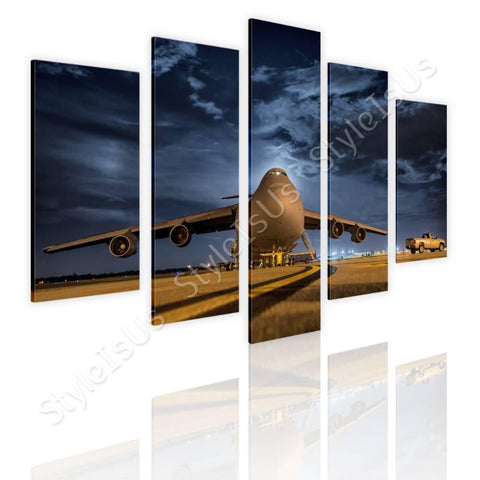 Split 5 panels Airplane taking off 5 Panels | Canvas, Posters, Prints & Stickers - StyleIsUS.com