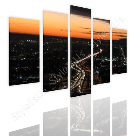Split 5 panels city Lights in sunset 5 Panels | Canvas, Posters, Prints & Stickers - StyleIsUS.com