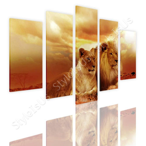 Split 5 panels Safari Lions in sunset 5 Panels | Canvas, Posters, Prints & Stickers - StyleIsUS.com