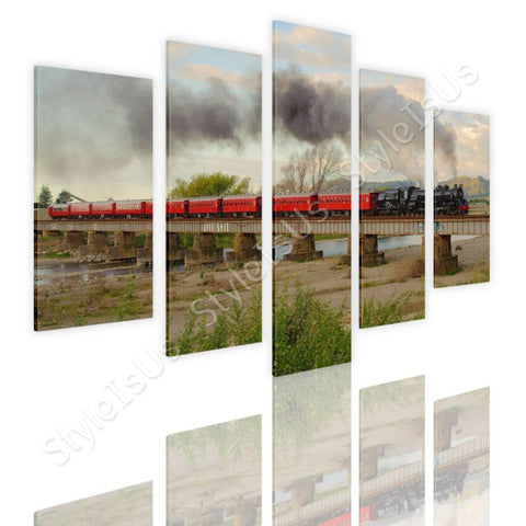 Split 5 panels Train in a Landscape 5 Panels | Canvas, Posters, Prints & Stickers - StyleIsUS.com