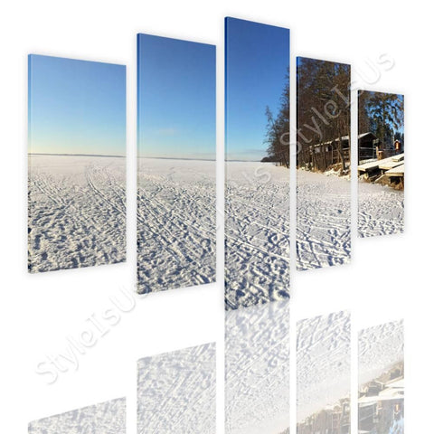 Split 5 panels Winter Snow Icy Forest 5 Panels | Canvas, Posters, Prints & Stickers - StyleIsUS.com