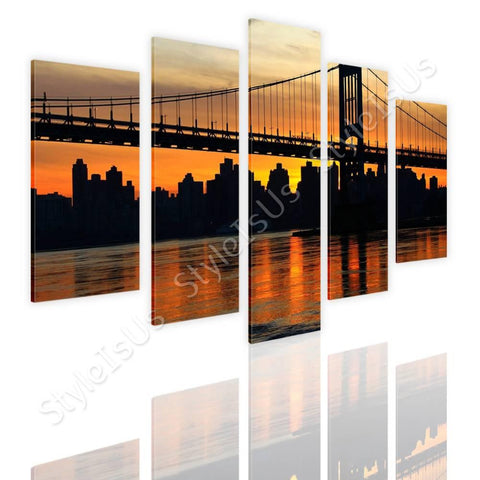 Split 5 panels Bridge on top of river 5 Panels | Canvas, Posters, Prints & Stickers - StyleIsUS.com
