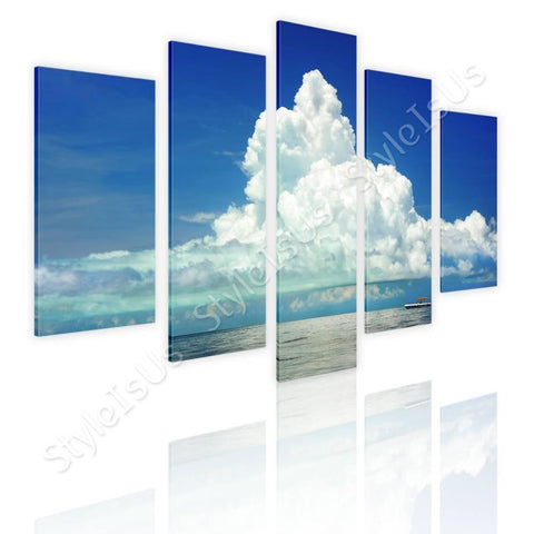 Split 5 panels Clouds covering Ocean 5 Panels | Canvas, Posters, Prints & Stickers - StyleIsUS.com