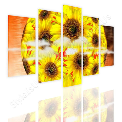 Split 5 panels Digital art Sun flower 5 Panels | Canvas, Posters, Prints & Stickers - StyleIsUS.com
