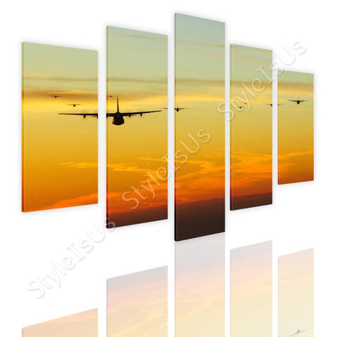 Split 5 panels Planes jets in sunset 5 Panels | Canvas, Posters, Prints & Stickers - StyleIsUS.com