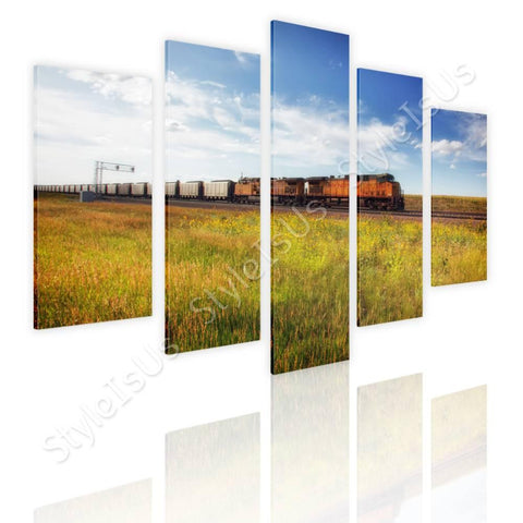 Split 5 panels Scenic train on rails 5 Panels | Canvas, Posters, Prints & Stickers - StyleIsUS.com