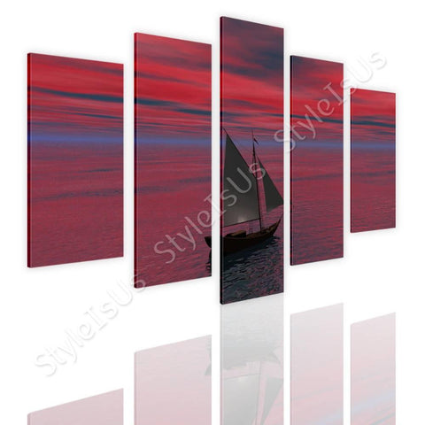 Split 5 panels Ship Sails in the ocean 5 Panels | Canvas, Posters, Prints & Stickers - StyleIsUS.com