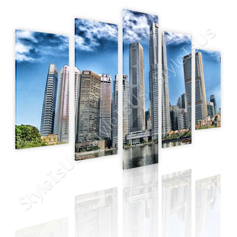 Split 5 panels Singapore skyline 5 Panels | Canvas, Posters, Prints & Stickers - StyleIsUS.com